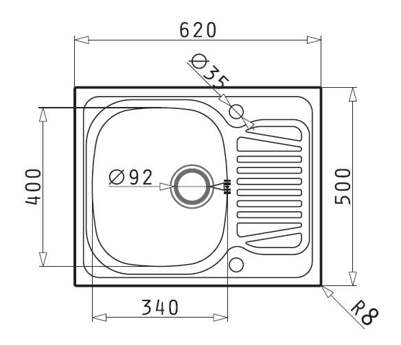 Maße Spüle spüle edelstahl leinenstruktur bks sparta 45 s1