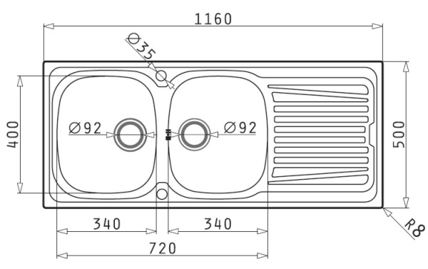 Maße Spüle spüle edelstahl bks sparta 8 s kü 24035 spülenshop